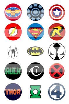 free printable superhero logos | Comic Superhero Logos Bottle Cap Image Sheet - Bottle Cap Image Sheets