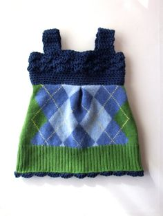 Upcycled Sweater Baby Dress Argyle with Crochet Bodice and Trim One of a Kind Recycled Clothing.This may be purchased on ecovolvenow.com