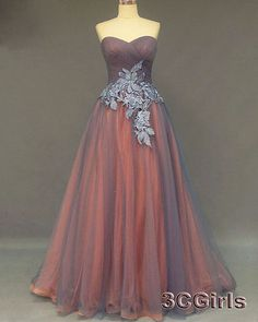 Elegant grey tulle long prom dress, ball gowns wedding dress