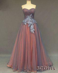 Elegant grey tulle long prom dress, ball gowns wedding dress