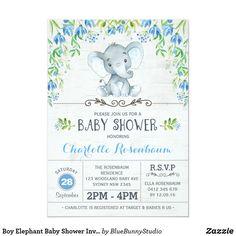 Boy Elephant Baby Shower Invitation Blue Floral Baby Sprinkle Invitations, Baby Shower Invitations For Boys, Elephant Shower, Baby Elephant, Baby Shower Balloons, Woodland Baby, Baby Boy Shower, Floral, Blue