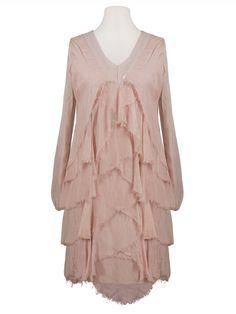 Damen Seidenkleid Volant, rosa von Diana bei www.meinkleidchen.de