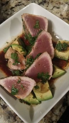 Tyler Florence's Pan-Seared Tuna with Avocado, Soy, Ginger, and Lime