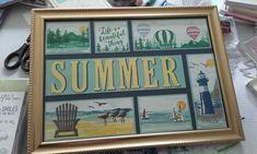 Shadow Box Art, Shadow Box Frames, Summer Crafts, Holiday Crafts, Collage Frames, Collages, Framed Art, Wall Art, 3d Craft