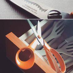 Wenn die Küche schon orange ist war es höchste Zeit in Sachen Schneidwerkzeug aufzurüsten!  #scissor #runningwithscissors #fiskars #finnish #schnippschnapp