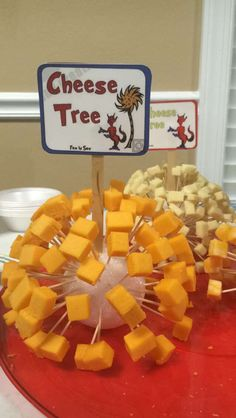 """Dr Seuss's """"Oh, the Places You'll Go"""" inspired for graduation party food. """"Cheese Trees"""" from """"Fox in Socks"""""""