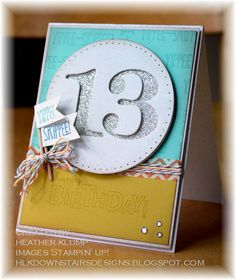 Yippee Skippee and Bring on the Cake stamp set, Paper Trey numbers dies, silver glimmer paper