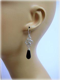 Chain Maille Earrings Japanese Cross Black by RiverGumJewellery, $38.00