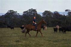 Jacqueline Kennedy horseback riding in Ireland, 1967.