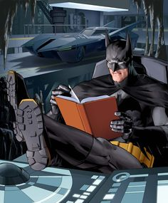 Even Batman finds time to read....