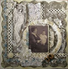 Lo and Behold, 1920 ~ gorgeous heritage page embellished with fussy cut vintage images, vintage buttons and trims. Love the curvy overlay page edging and the ink distressing.