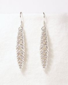 Box Drop Earrings in Sterling Silver by WindCloudChainmaille