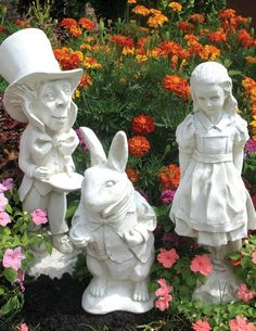 ALICE IN WONDERLAND STATUARY SET (WHITE FINISH)