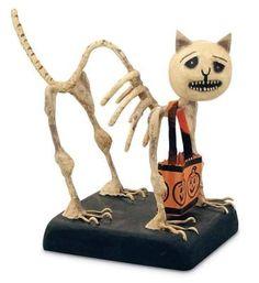 My Skeleton Cat Bobble Head. Halloween Designs, Retro Halloween, Vintage Halloween Decorations, Halloween Doll, Halloween Trees, Holidays Halloween, Creepy Halloween, Halloween Stuff, Halloween Pumpkins