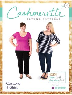 Customizable Concord knit T-Shirt sewing pattern by Cashmerette is a classic wardrobe staple. Sizes with 3 cup size options. T Shirts Uk, Printed Shirts, Clothing Patterns, Sewing Patterns, Sewing Designs, T Shirt Sewing Pattern, Shirt Patterns, Plus Size Summer Fashion, Plus Size Sewing