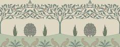 """Dove & Holly"" CFA Voysey c1902 reproduced by Trustworth Wallpaper Borders"