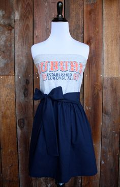 This dress is made with an upcycled Auburn t-shirt and has a solid navy skirt