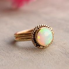 18K Gold Opal ring - Engagement ring  #ooakring #engagementring