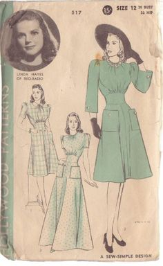 HOLLYWOOD PATTERN 517 MISSES' 1940'S 1 PC DRESS OR HOUSECOAT SIZE 12 LINDA HAYES
