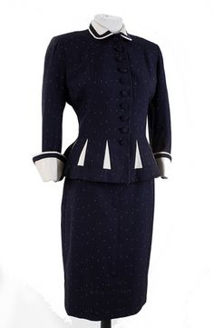 1940 | Navy with White Flecks Silk and Mohair Loomed Suit by Lilli Ann