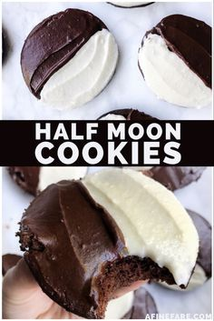 Utica Half Moons have a base that is like a Whoopie Pie and come in chocolate or vanilla, then they are frosted with chocolate and vanilla frosting to look like a half moon! Vanilla Cookies, Vanilla Frosting, Yummy Cookies, Yummy Treats, Sweet Treats, Candy Cookies, Chocolate Buttercream, Crinkle Cookies, Cookies