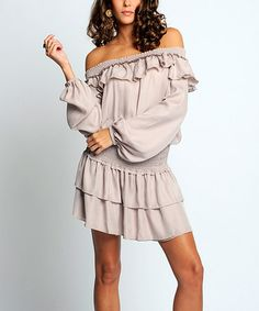 Loving this Nude Ruffle Peasant Dress  Ruffled tiers, an off-shoulder cut and a figure-defining shirred waist lend bohemian-inspired flair to this breezy number.      100% polyester vegan cruelty free  sexy country classy hip designer flattering flowing gypsy peasant boho black copper orange peach Other colors available hurry only $59.99 regularly $239! Get yours before they sale out.