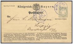 """Old German States Bavaria Postal stationery. postal stationery postcard, type II and plate flaw """"siud"""" in lieu of """"are"""", from Munich to Leipzig used, horizontal trace of crease, in this combination a scarce variety! P 1 IIa) English Handwriting, Germanic Tribes, The Third Reich, Picture Postcards, Bavaria, Munich, Alter, Vintage World Maps, Stamps"""