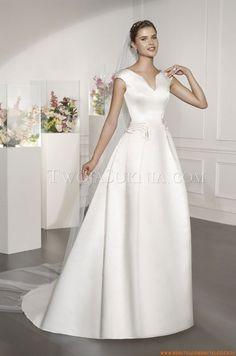 V-neck A-linie Schlichte Brautkleider 2014 aus Satin mit Feder