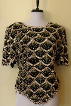 Gorgeous Vintage Art Deco Sequin Top by AudraMcAvaddy on Etsy