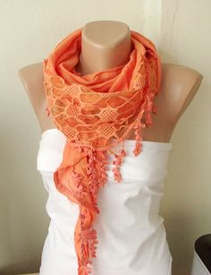 NEW 2012 Spring Model Orange  Cotton Scarf with Pine by Periay, $22.00