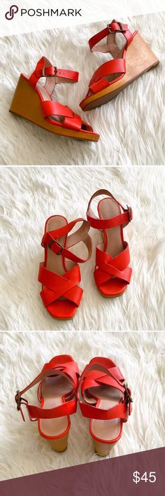 Madewell wedges red size 7 Great used condition Madewell wedges. Fits true to size and are just really beautiful well made shoes. Madewell Shoes