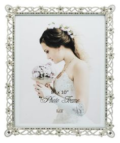 LandT Wedding Picture Frame Silver Plated Metal with Pearly White Flowers and Crystals 8 x10 Inch -- Learn more by visiting the image link. (This is an affiliate link) #PictureFrames