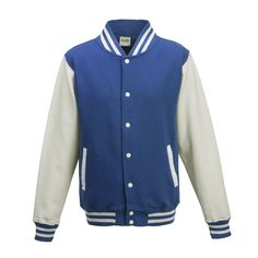 Just Hoods JH043 Royal Blue and Arctic White Varsity Jacket - £19.35
