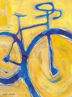 Blue Road Bike Original Painting by ShelliWalters on Etsy, $275.00