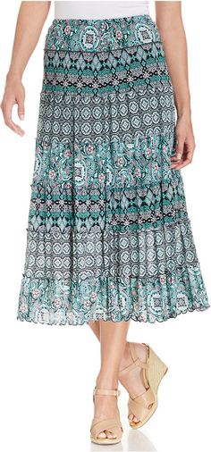 JM Collection Petite Tiered Mixed-Print Mesh Skirt