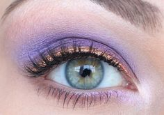 Lilac eyeshadow with copper toned liner
