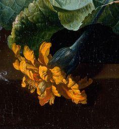 Jan van Huysum - Hollyhocks and Other Flowers in a Vase
