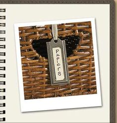 """Perfect """"labels"""" to attach to storage baskets. They're pretty and useful!"""