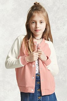 Forever 21 Girls - A French terry knit jacket featuring a colorblock design on long sleeves, a snap-button front, slanted front pockets, a round neckline, and a ribbed knit trim.