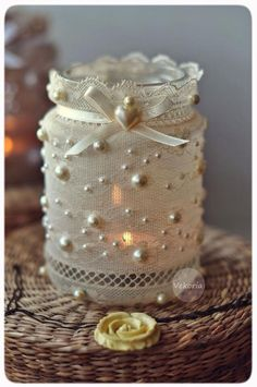 Shabby Chic Home Decor Bottles And Jars, Glass Jars, Candle Jars, Candles, Mason Jar Projects, Mason Jar Crafts, Lace Mason Jars, Wine Bottle Crafts, Fun Crafts