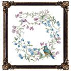 Watercolor Bluebird Cross-Stitch Pattern With Optional Text