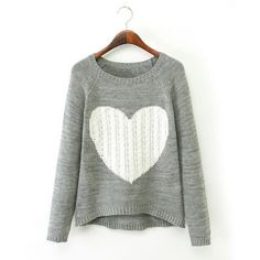 Sweet Style Scoop Collar Long Sleeve Color Block Heart Pattern Women's Sweater, GRAY, L in Sweaters & Cardigans | DressLily.com