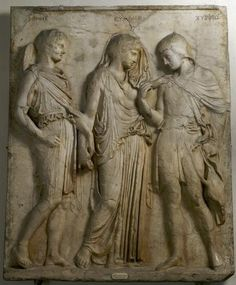 Hermes, Eurydice, and Orpheus - Roman relief marble copy after Greek original in 1st century AD, original 5th century BC, at the Archeologico Nazionale, Naples