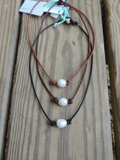 Freshwater pearl and leather necklace, custom length necklace, pearl lovers jewelry, beach necklace, layering necklace, boho by Miscellanee on Etsy
