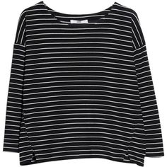 Mango Striped Textured Jumper, Black (€21) ❤ liked on Polyvore