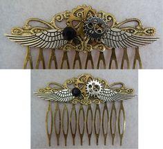 Gold Steampunk Gears & Wings Hair Comb NEW Hair Pins Combs Handmade accessories #Handmade #HairComb http://www.ebay.com/itm/-/151736991109?