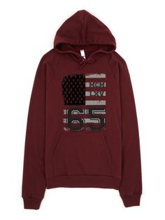 Unisex Vintage USA Flag Pullover Hoodie in Truffle color. #USA