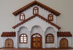 Miniature Fairy Gardens, Miniature Houses, My Home Design, House Design, Mexican Artwork, Clay Houses, Bird Houses Painted, Spanish Style Homes, Scroll Saw Patterns