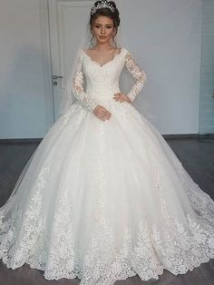 Beautiful V Neck Ball Gown Wedding Dress With Sleeves