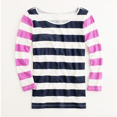 two-tone stripe tee / j.crew... Just got this but with light blue instead of purple